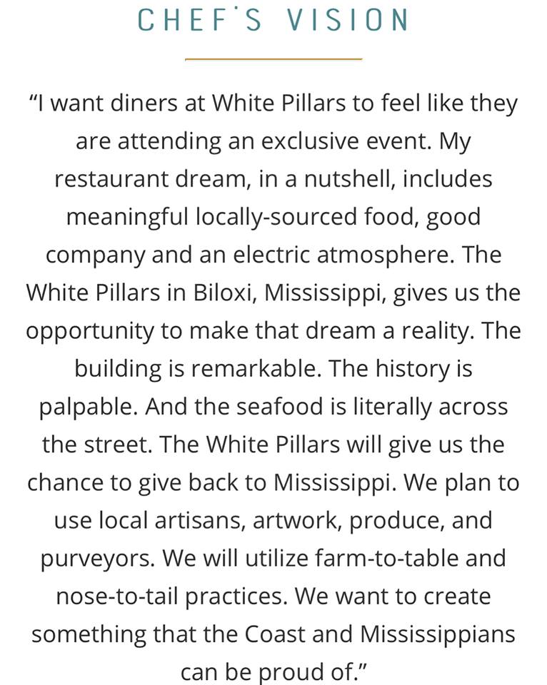 Chef Sumrall's Vision for White Pillars