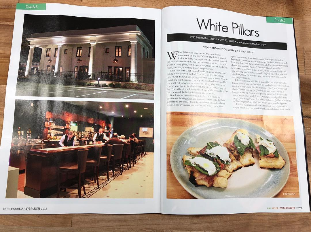 White Pillars in Biloxi, Mississippi was featured on Eat Drink Mississippi Magazine in their February/March 2018 issue.