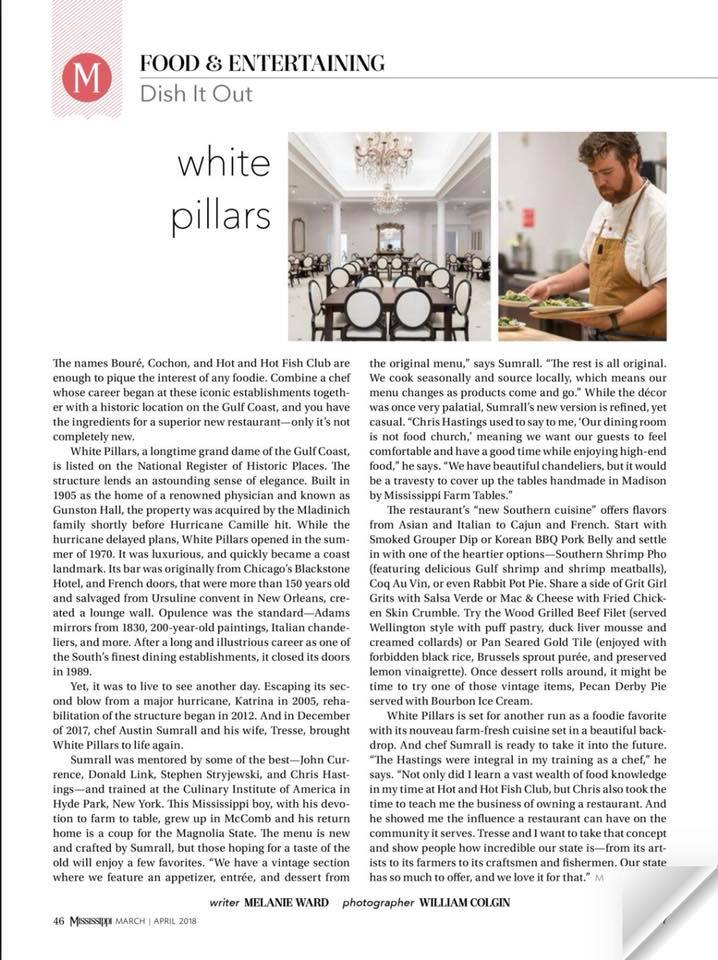Mississippi Magazine Featured Chef Sumrall and White Pillars in their April 2018 issue.