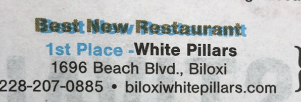 White Pillars won first place in the Best New Restaurant category