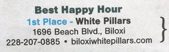 White Pillars won first place in Sun Herald People's Choice 2018 Best Happy Hour category
